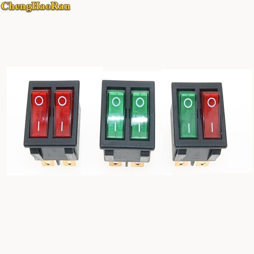 ChengHaoRan 1 Uds KCD2 interruptor basculante de bote Doble 6 Pin On-Off con luz verde roja 20A 125VAC/16A 250V 6 PIN 2 posiciones