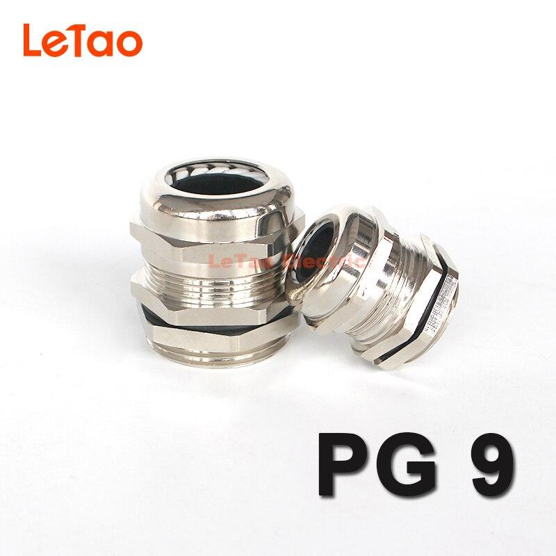 1 PG9 prensaestopas de latón niquelado conector de metal resistente al agua IP68 prensaestopas electricas joint for4-8mm