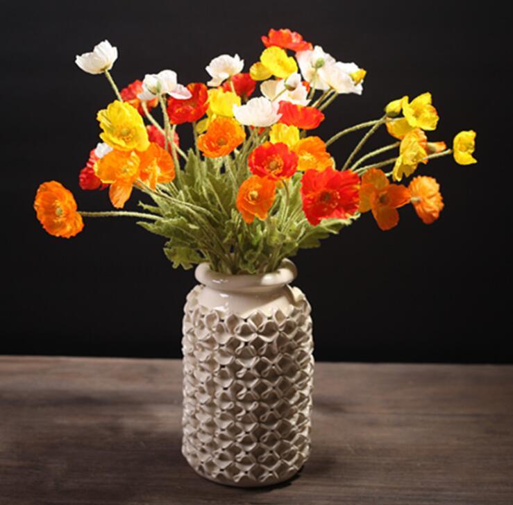 Flor de Papoula Decoração para Casa Atacado Pasque Casamento Artificial Flor Floral Evento Festa Exibição 100 Pçs