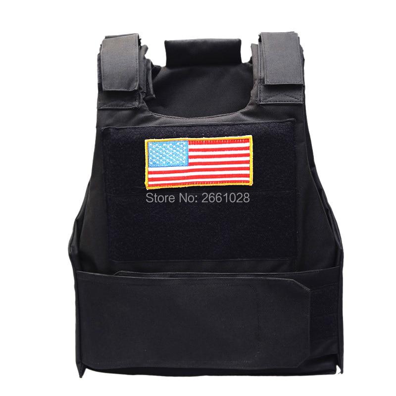 Chaleco táctico de policía con parche de bandera de EE. UU., chalecos para exterior, Airsoft, Paintball, caza militar, equipo de combate protector
