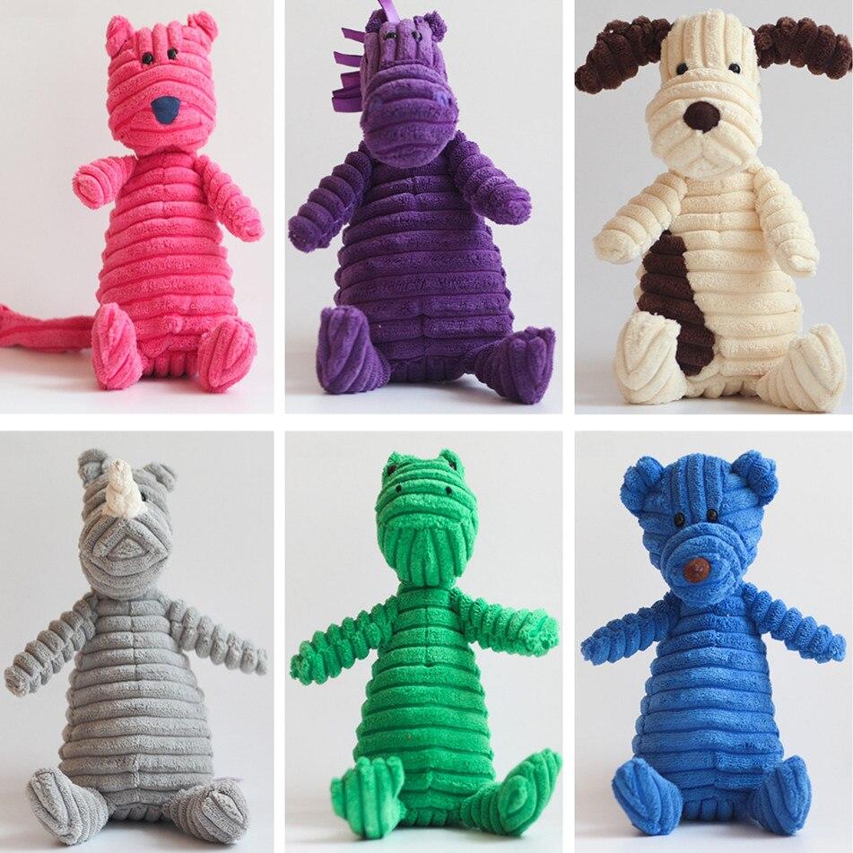 Popular Pet Dog Cat Funny Fleece Durability Plush Dog Toys Squeak Chew Sound Toy Fit for All Pets Elephant Monkey Fox Plush Toys