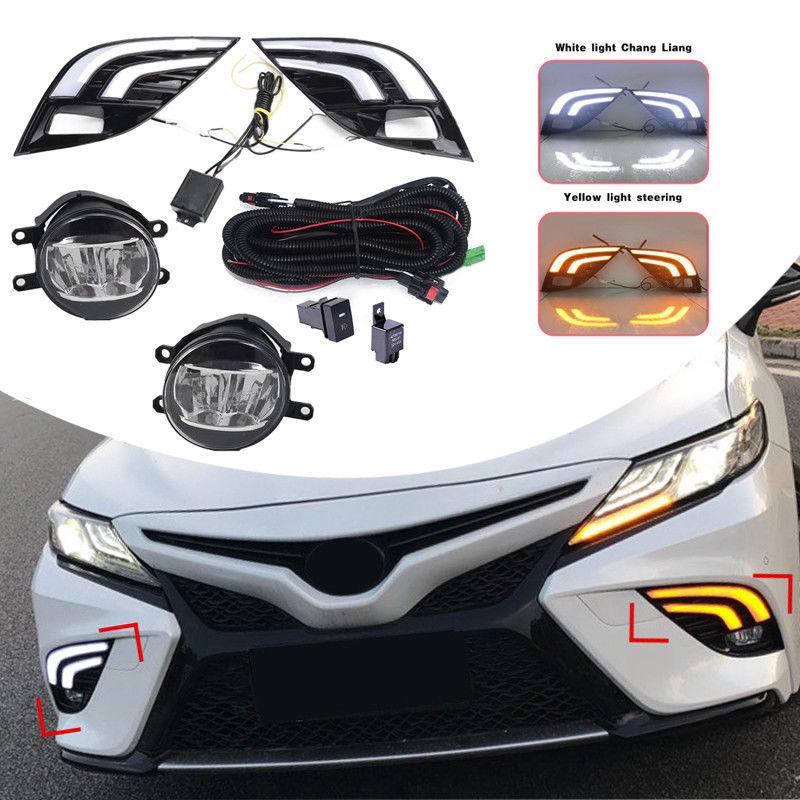 2 uds, nuevo LED DRL, lámpara de señal de giro para coche, Kit de cableado de luz antiniebla, reajuste SE para Toyota Camry XSE 2018, conjunto de luces LED para maletero de coche
