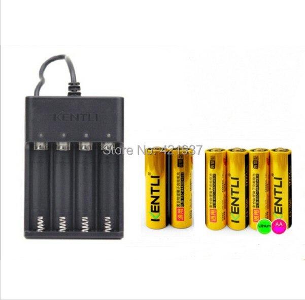 6 pcs 1.5 v aa kentli 2400mwh mah li-bateria de polímero de li-ion de lítio recarregável bateria + usb carregador rápido