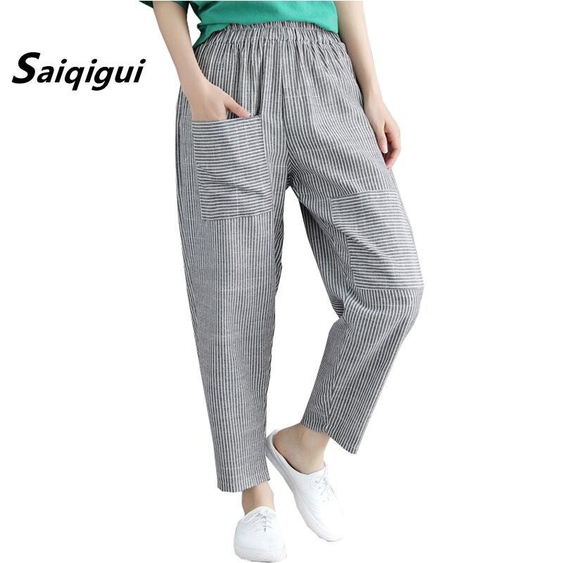 Saiqigui 2019 verano Mujer tobillo-longitud pantalones cintura elástica bolsillos Casual suelta algodón Lino pantalones Vintage a rayas harem Pantalones
