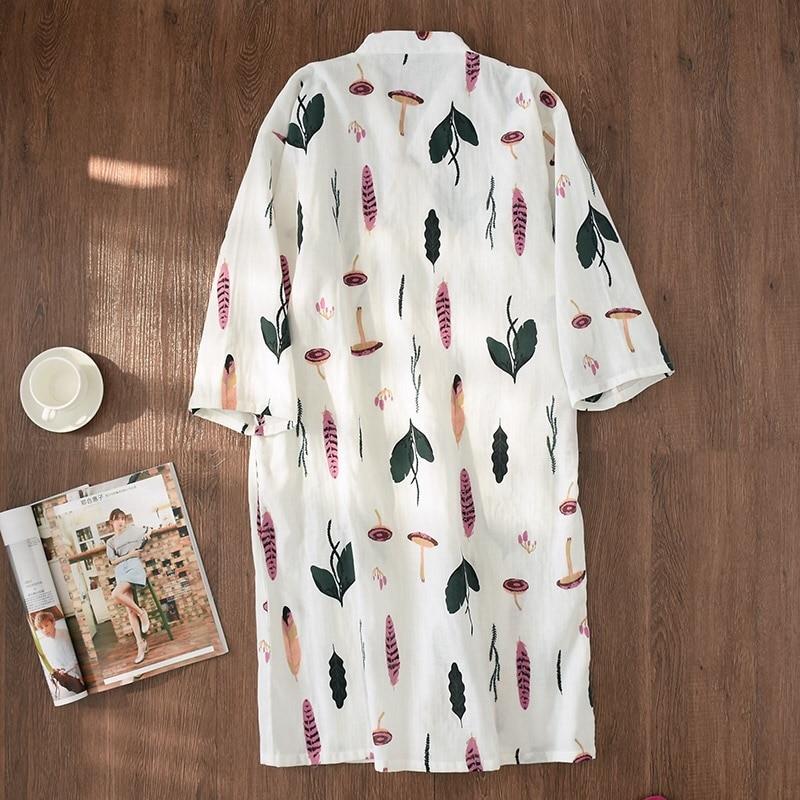 New Summer Fresh leaf kimono robes women bathrobes 100% Gauze cotton thin casual women nightgowns Japanese robes