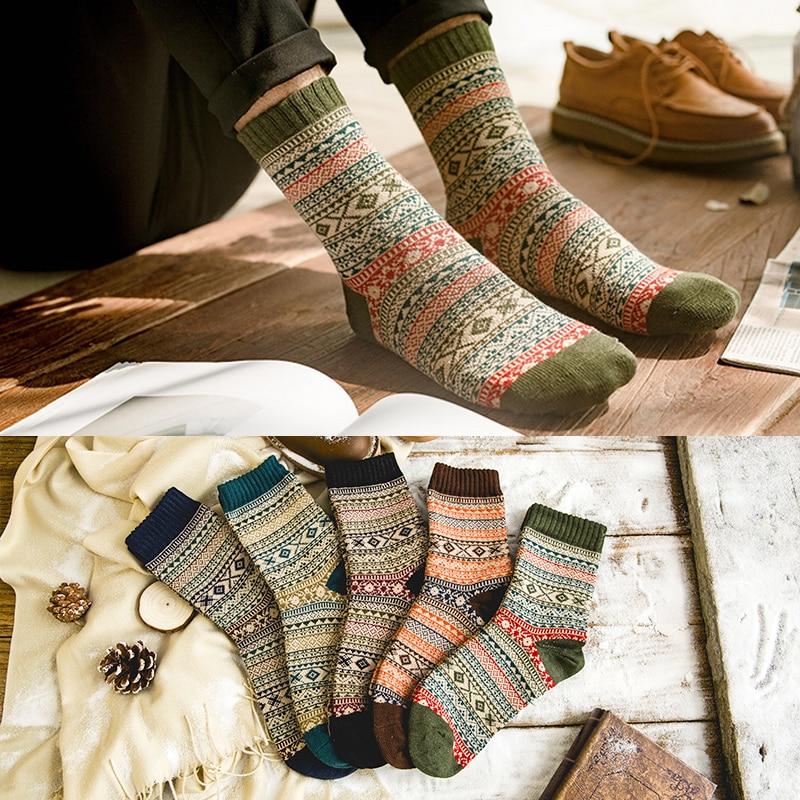 Зимние плотные теплые Полосатые Шерстяные носки LNRRABC, повседневные носки, мужские носки, деловые мужские носки
