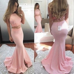 SuperKimJo Robe De Soiree Pink Evening Dresses 2020 Long Mermaid Satin Sexy Women Formal Dresses Two Piece Prom Dresses
