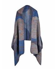 Vintage Women Faux Cashmere Knitted Poncho Shawl Cardigan Outwear Geometric Pattern Oversized Long Bohemia Cape Echarpe Femme
