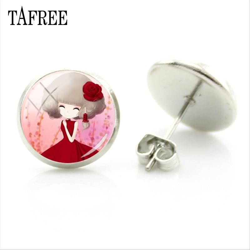 Tafree bonito q estilo dos desenhos animados menina imagem do parafuso prisioneiro brincos redondo cúpula de vidro para a menina feminino presentes jóias moda brincos c083