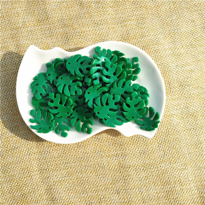 20 Pcs/lot DIY Monstera Leaf Acrylic Resin Kids Jewelry Making Accessories Materials Green Earring Findings Wholesale