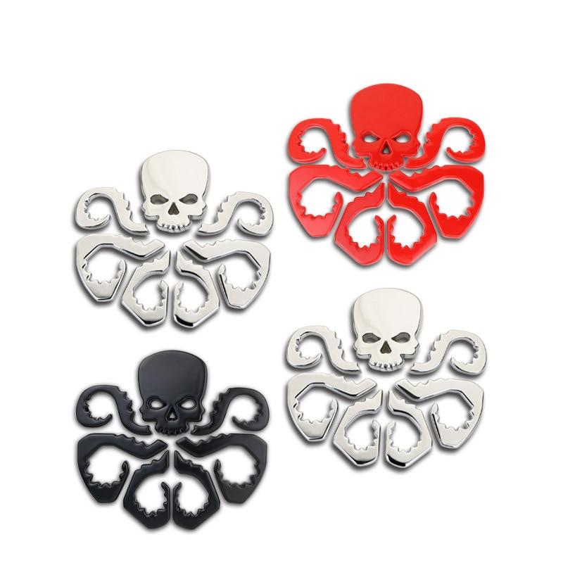 Metal Skull Car  Logo Emblem Badge 3D