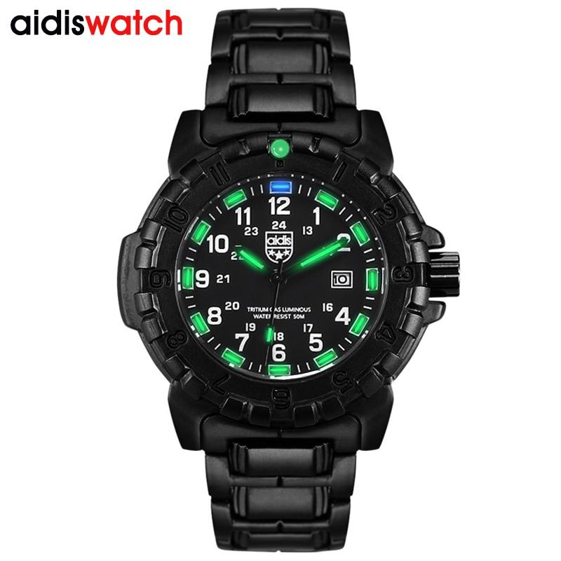 Часы AIDIS мужские, спортивные, повседневные, светящиеся, кварцевые, водонепроницаемые, армейские, с компасом, сплав