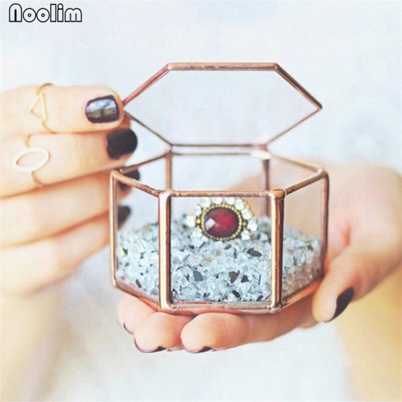Noolim vidro geometria recipiente anel caixa organizador de maquiagem caixa de armazenamento de jóias flor eterna micro paisagem capa de vidro