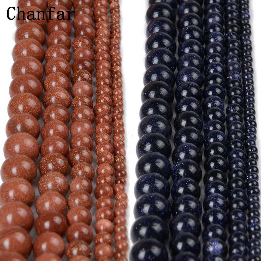 Chanfar 4 6 8mm 10mm 12mm Oro Natural arena piedra suelta perlas azul oscuro piedra arenisca cuentas de la joyería DIY