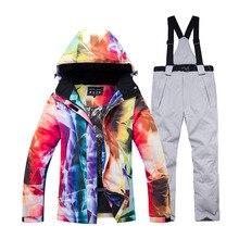 -30 kadın kar giyim giyim snowboard takım elbise setleri su geçirmez rüzgar geçirmez kışlık kıyafet dağ kayak ceket ve kayış kar pantolon