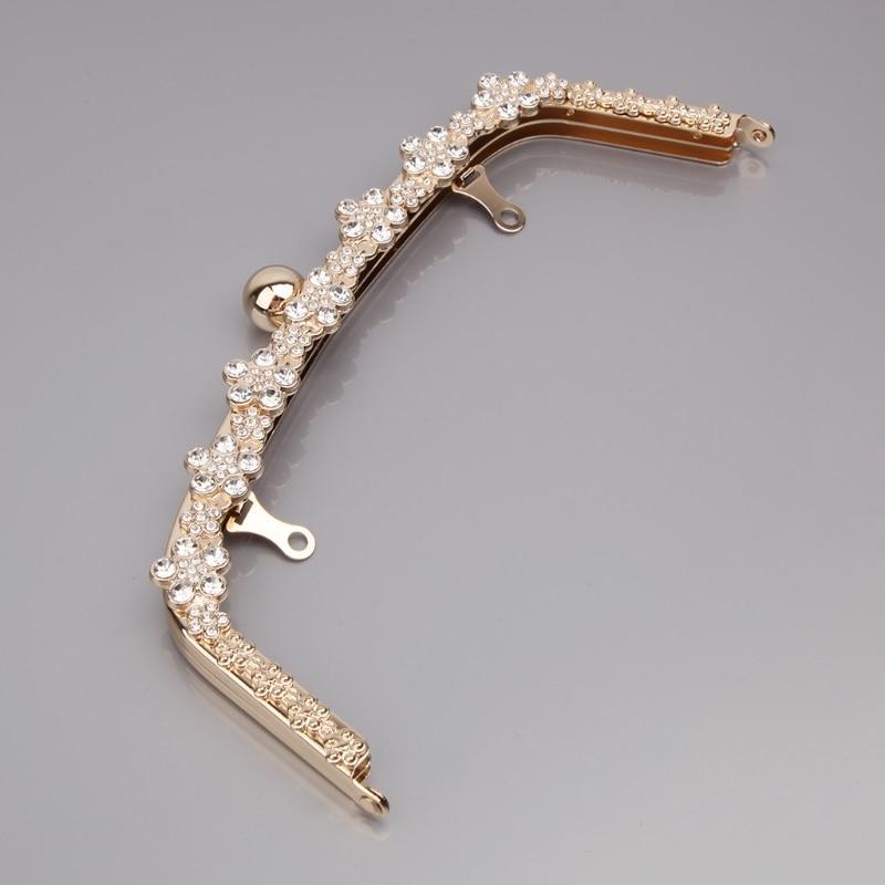 High Quality Fashion Metal Rhinestone Purse Handle Bag DIY Craft Frame Kiss Clasp Lock 22cm