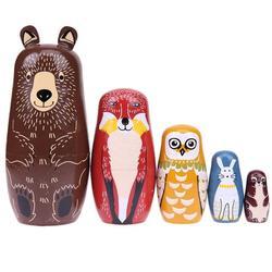 Presente de natal urso orelha russa matryoshka bonecas de madeira aninhamento bonecas russas conjunto bebê basswood brinquedos decoração para casa presentes