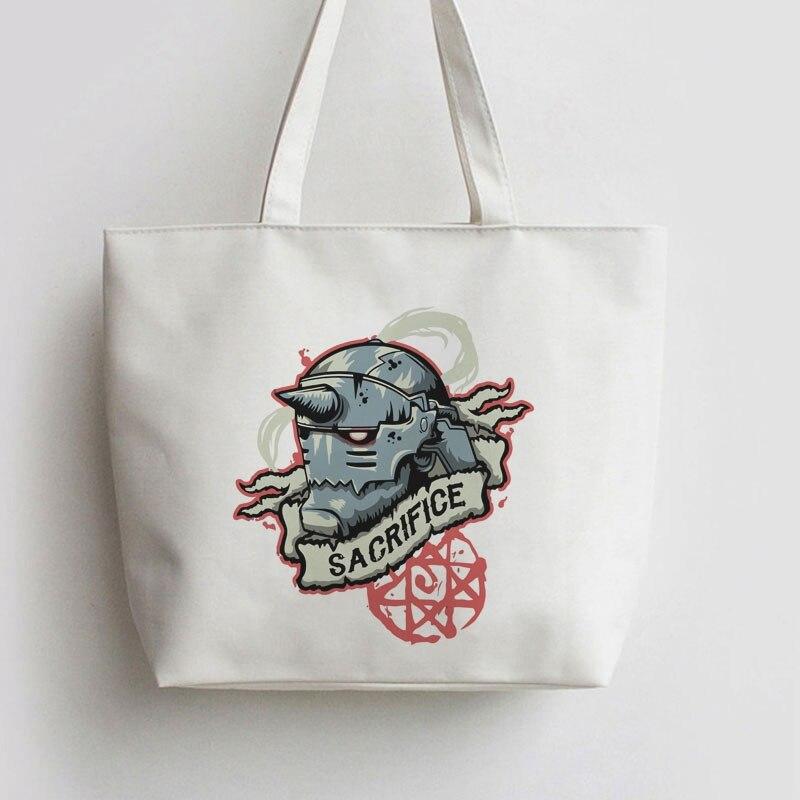 Para o sacrifício japonês anime lona tote sacos dos desenhos animados sacola de compras ombro reutilizável shopper supermercado saco ga702