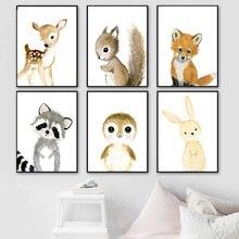 Desenhos animados raposa coala veado coelho esquilo nórdico cartazes e cópias da parede quadros de parede quadros parede do berçário