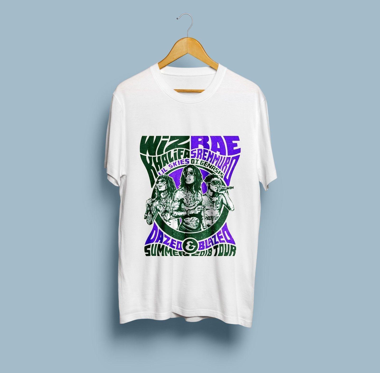 Raro Wiz Rae Khalifa Sremmurd Dazed Blazed verano 2018 Tour camiseta nueva impresión camiseta hombres camiseta destacada de talla grande Harajuku