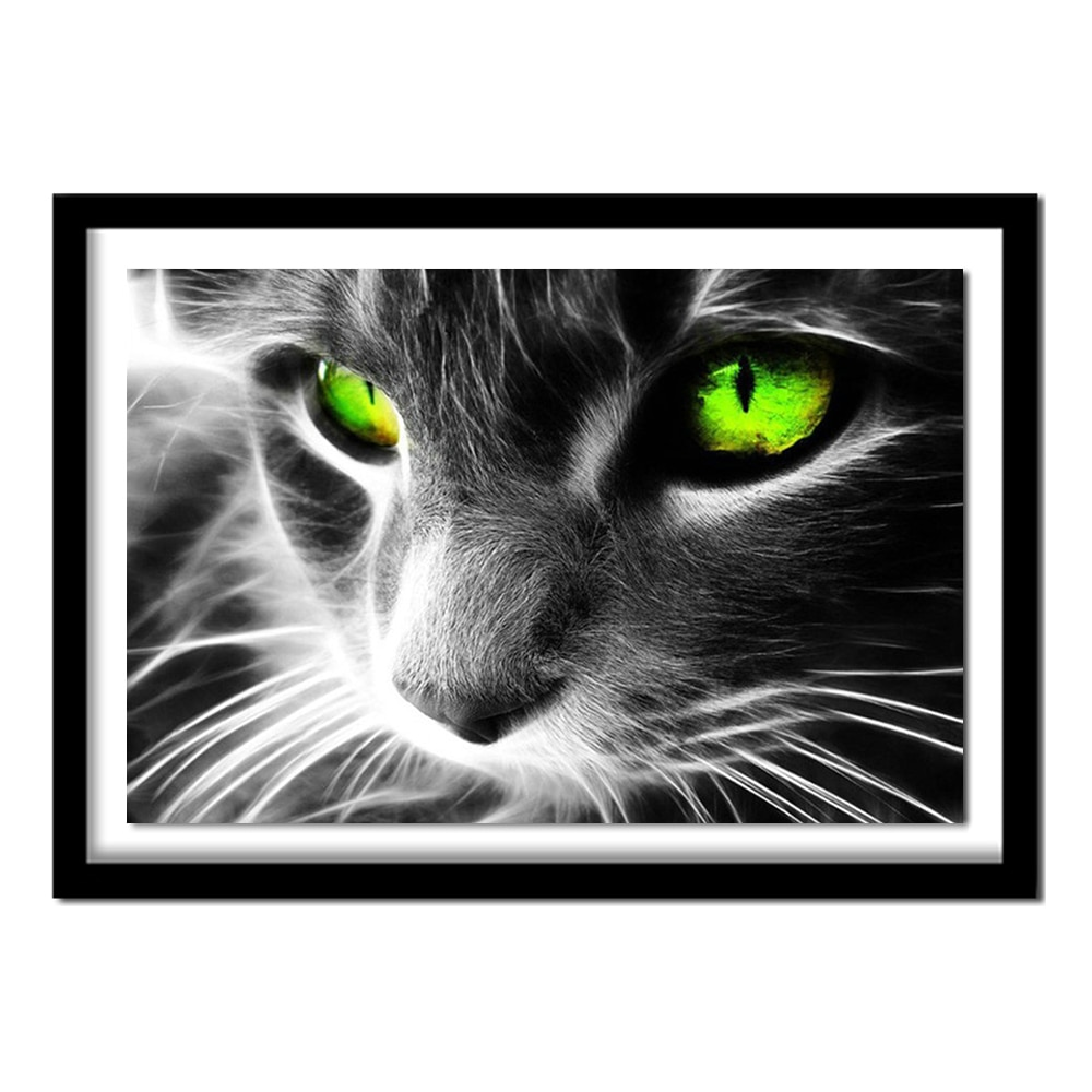 Gree eye cat 30x20 5d diy pintura diamante adesivo de parede diamante ponto cruz bordado bordado diamante
