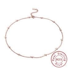 Mince mince 925 en argent Sterling perlé collier ras du cou femmes filles délicat Minimal or Rose chaîne Satellite sans collier SN030
