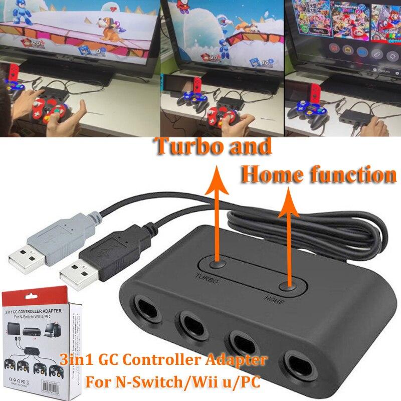 Interruptor de 2019 Para Nintendo GameCube Novo Turbo 4 Porta Interruptor WiiU Controller Adaptador Conversor para Nintend Gamecube GC e PC
