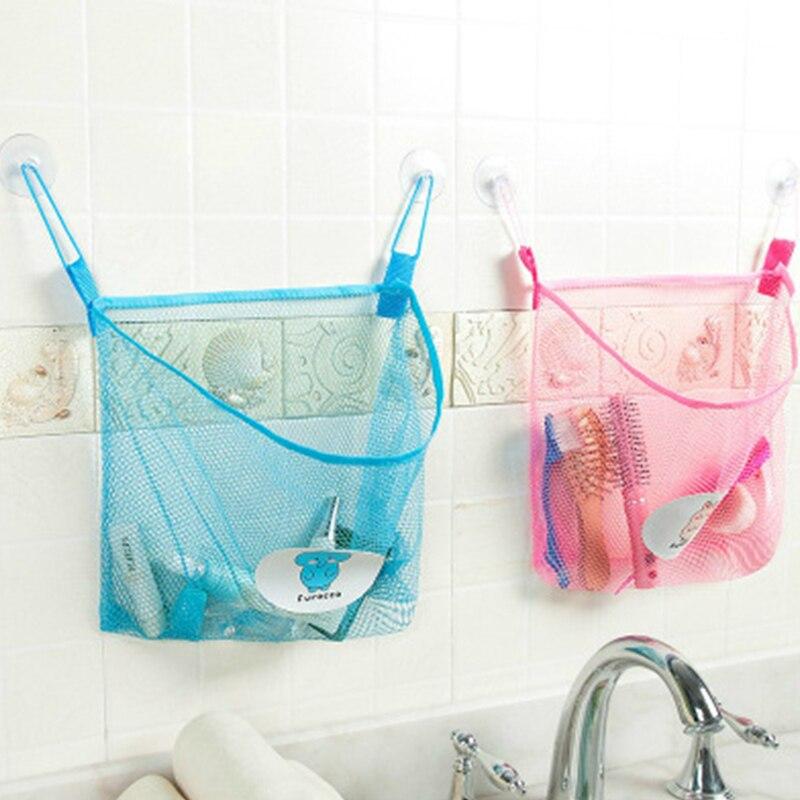 Wiilii 1 pc poliéster transparente dos desenhos animados banheiro otário pendurado armazenamento saco de malha banheira brinquedos cosméticos organizador sacos