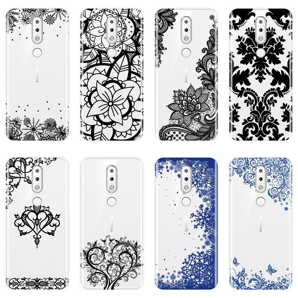 Funda de teléfono suave para Nokia 2,1 3,1 5,1 6,1 7,1 silicona encaje estético Sexy funda trasera de flores para Nokia 7,1 6,1 5,1 3,1 2,1 Plus
