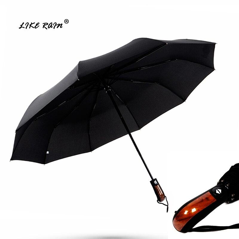 COMO a CHUVA Homens Grande Imitação De Madeira Lidar Com Guarda-chuva Guarda-chuva Dobrável Guarda-chuva Automático Chuva Mulheres À Prova de Vento Fortes Chuvas UBY32