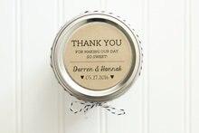 Obrigado Casamento personalizado Favor Rodada Círculo Etiqueta Kraft Etiquetas Cor-Favores Do Casamento do Frasco De Mel, Nome Customzied & Data