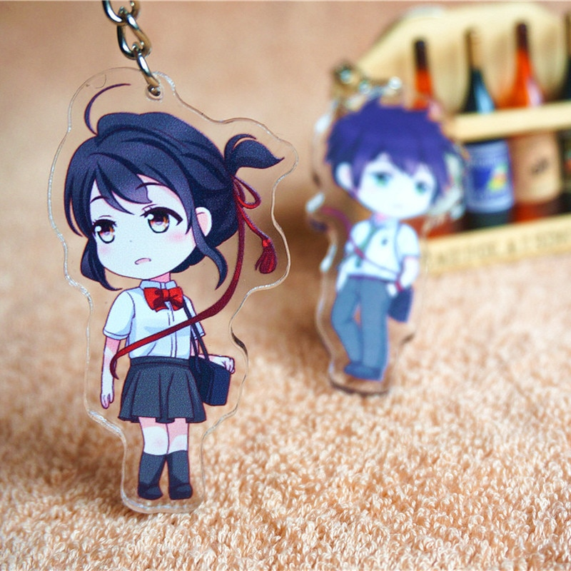 Pçs/set Seu Nome miyamizu 2 chaveiro anime filme Miyamizu Mitsuha Tachibana Taki cosplay figura pingentes de Acrílico frete grátis