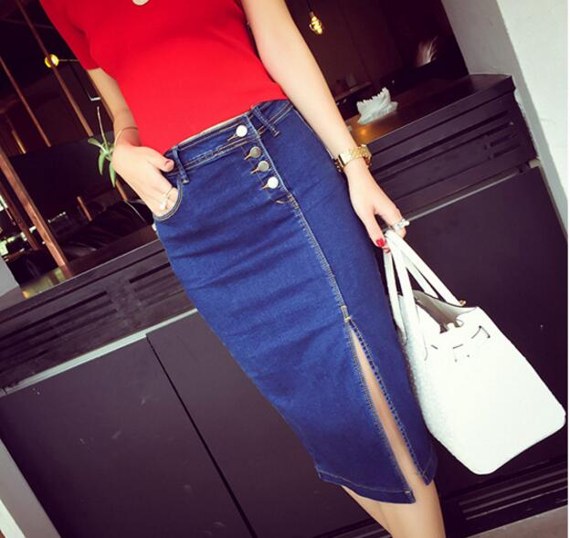 Длинная джинсовая юбка, ковбойская юбка с завышенной талией, Однорядная расклешенная, с пряжкой, трапециевидного силуэта