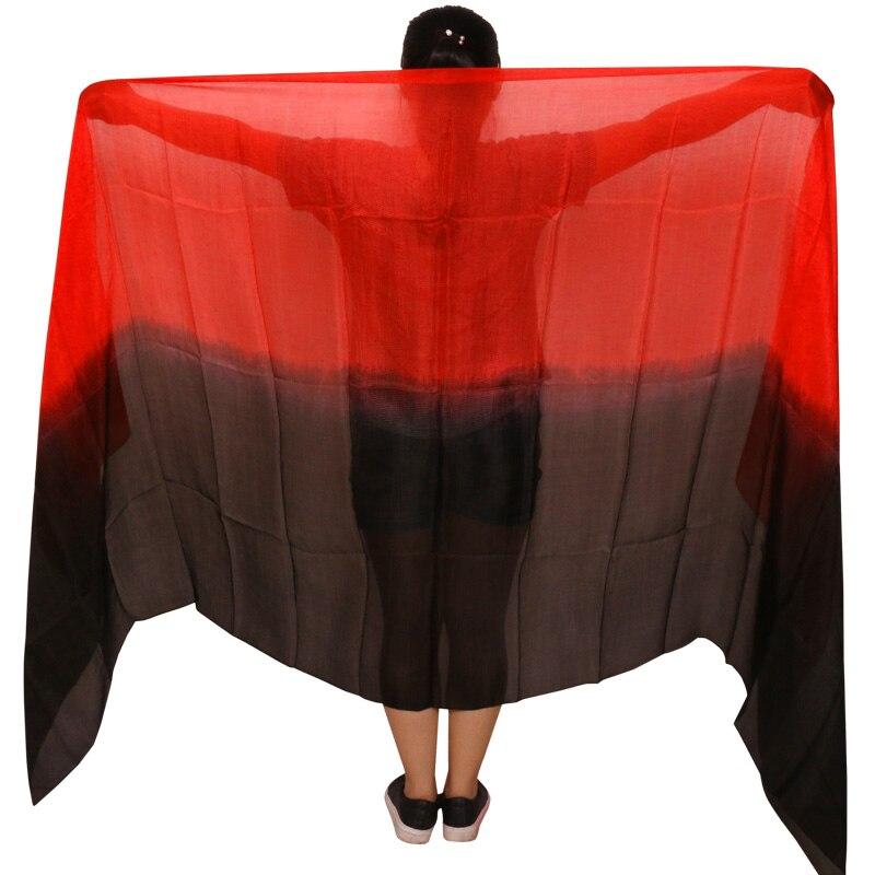 100% real seda dança do ventre véu 250/270*114cm gradiente cor preto + vermelho mão tingida dança acessórios véus de seda pode ser personalizado