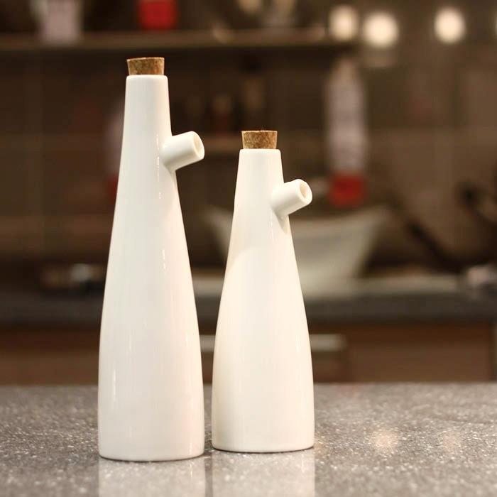 Frascos de botellas de almacenamiento de cerámica zakka estilo japonés en forma de árbol con tapa botella de salsa vinagre botella de aceite de oliva 2 unids/set grande + pequeño