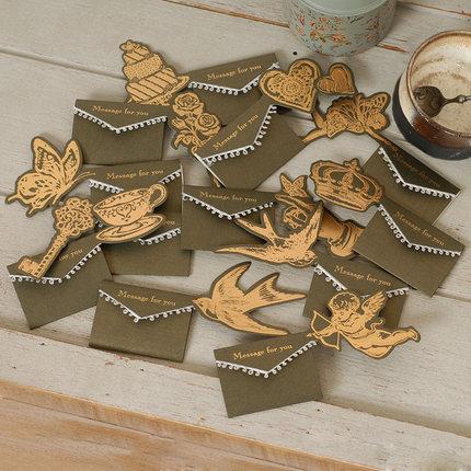 Mini tarjetas de felicitación ENO mensaje para ti tarjetas regalo dorado metálico vintage tarjetas pequeñas favor de fiesta
