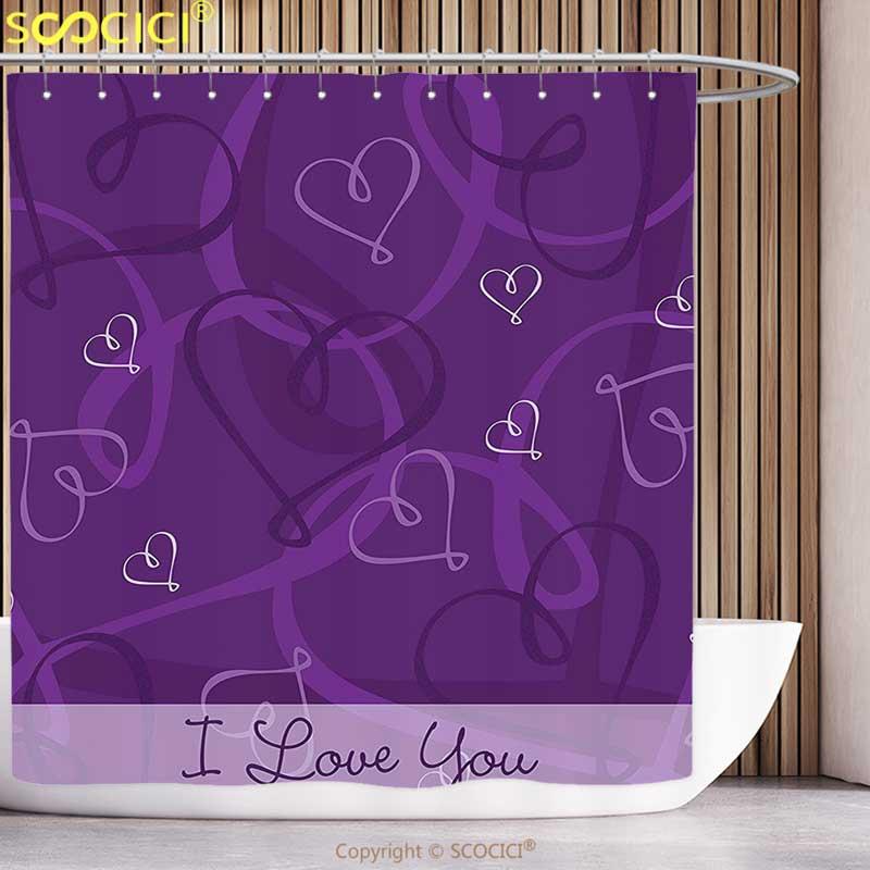 Cortina de ducha Funky color lavanda índigo imagen temática romántica con imagen de corazones dibujada a mano berenjena púrpura y Lila