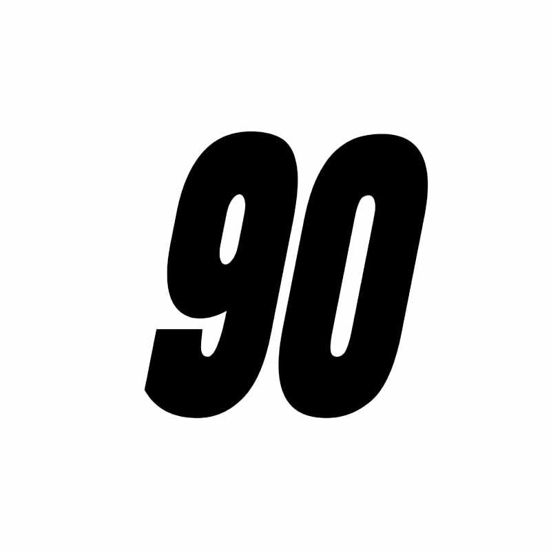 15*15CM divertido número 90 vinilo calcomanía 90 decoración GTR coche adhesivo gráfico negro/blanco Car-styling para Grinch Mustang Tesla BMW