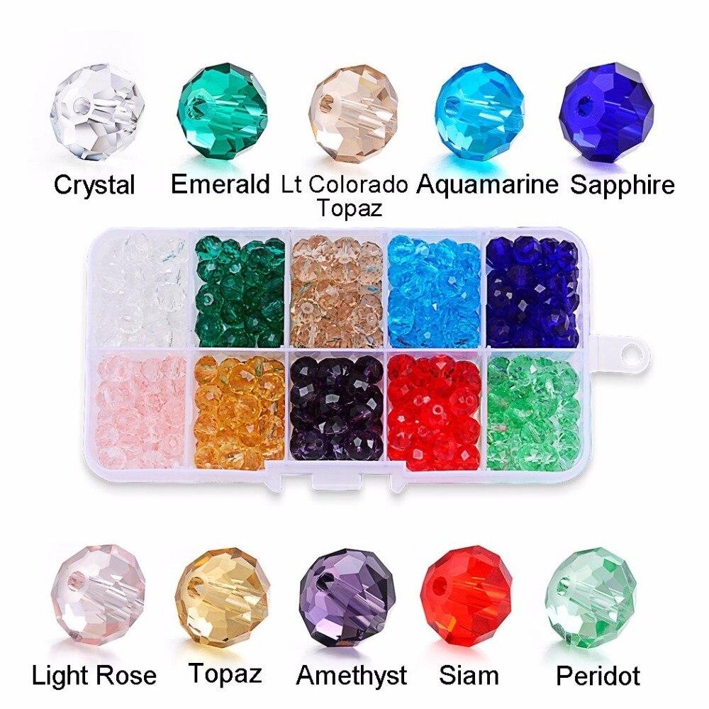 Perles en boîte 4/6/8/10/12MM cristal Rondelle AB perle verre à facettes rondes artisanat matériaux pour bricolage faisant des Bracelets de bijoux