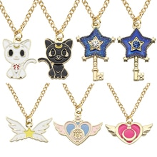 Kawaii marin lune collier dessin animé étoile baguette coeur ailes chat belle pendentifs colliers bijoux pour enfants filles femmes cadeaux bricolage