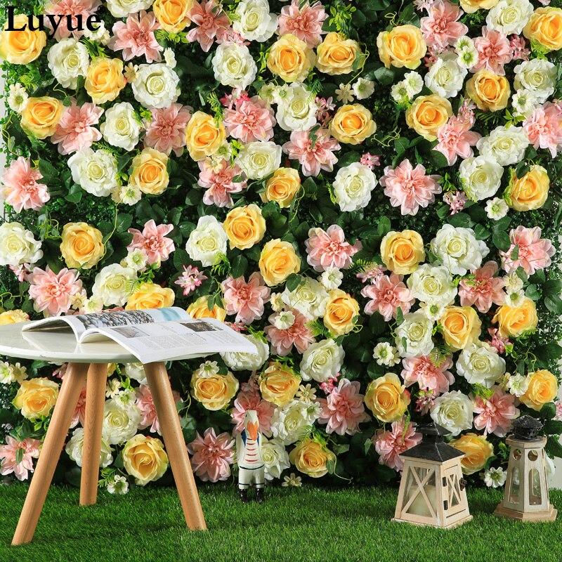 Luyue tamaño 40CM x 60CM seda Rosa flor Artificial para flores decorativas para boda pared decoración de fondo de boda