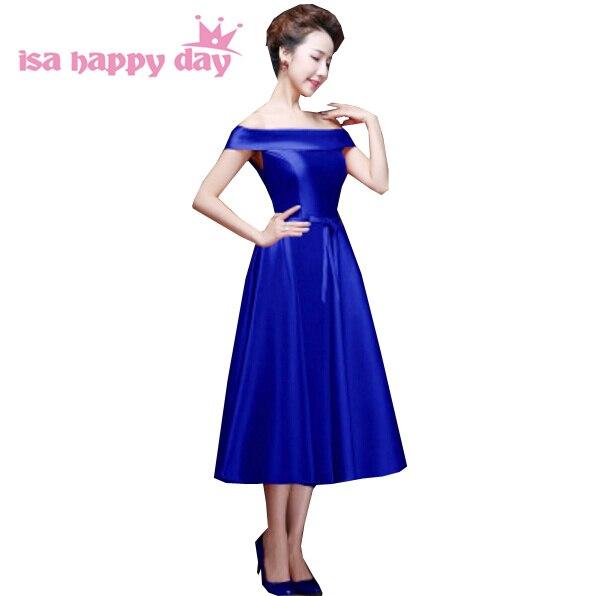 black royal blue formal women engagement dinner dress wine gown boat shoulder new 2020 women plus size dresses evening W2904