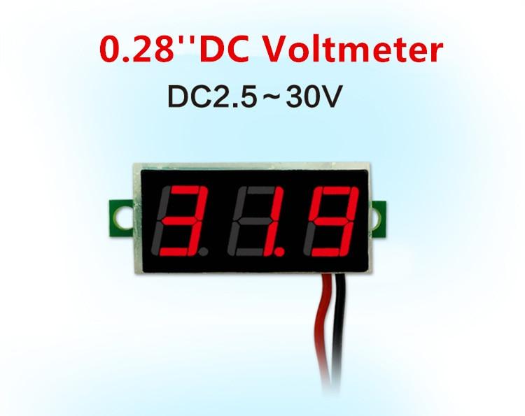 0,28 pulgadas rojo azul Digital Mini pantalla LED módulo DC2.5V-30V DC0-100V del...