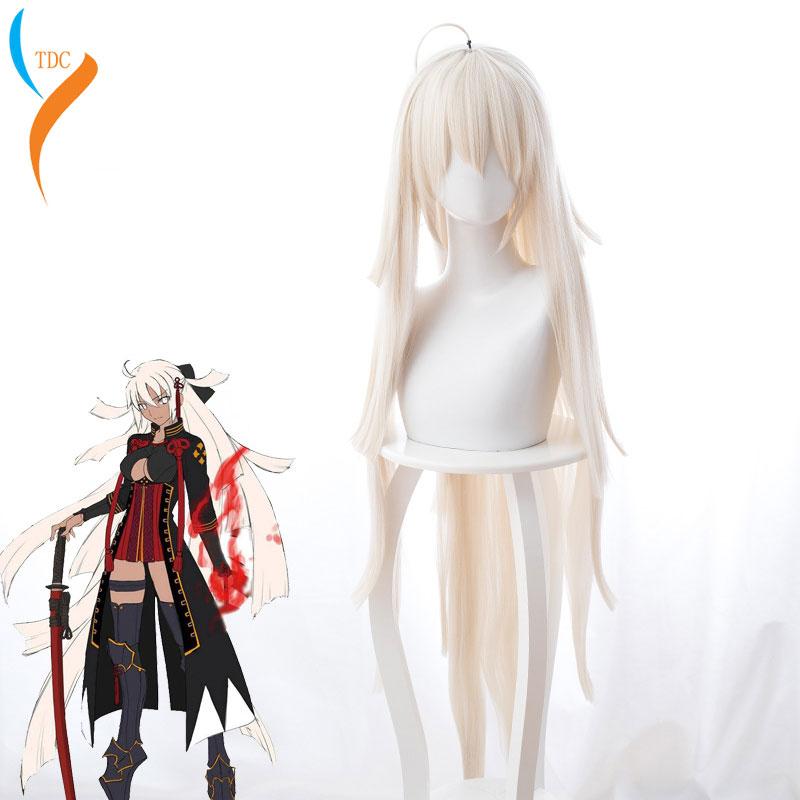 Fate/Grand Order Okita Souji Peluca de Cosplay para mujeres 120cm de largo liso resistente al calor pelo sintético Majin Saber peluca Anime Beige