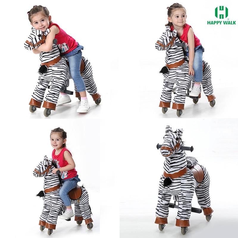 Механический каток на лошадях на колесах, размер S, распродажа, детский, подпрыгивающий, двигающийся, милый, в форме зебры, пони, подарок на де...