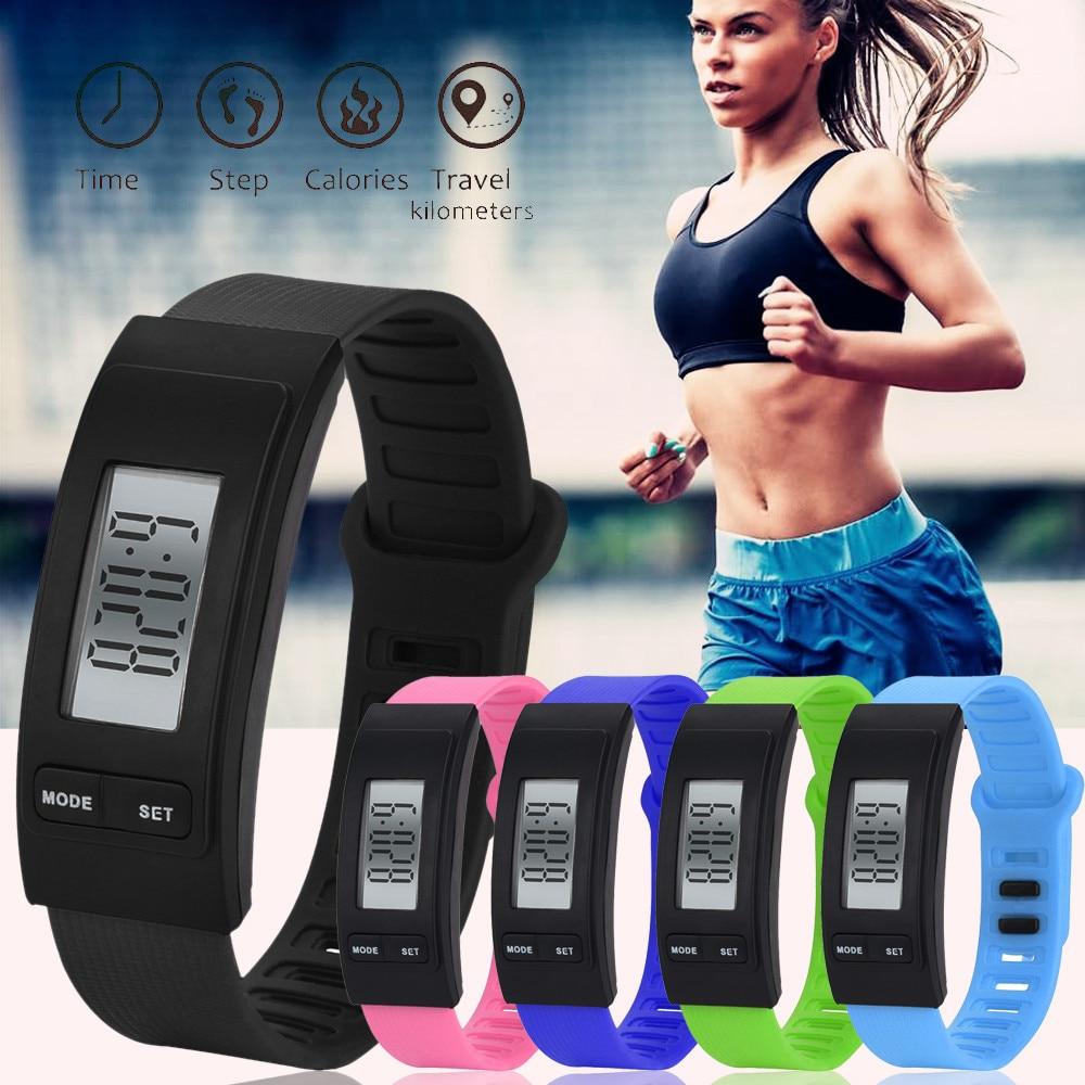 2018 reloj de pulsera inteligente deportivo con indicador de aptitud rastreador de pasos Digital LCD podómetro correr contador de calorías