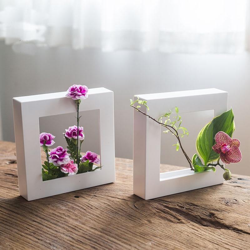 Photo frame flower pot living room wall hanging desktop Japanese ikebana plastic flower arrangement tools