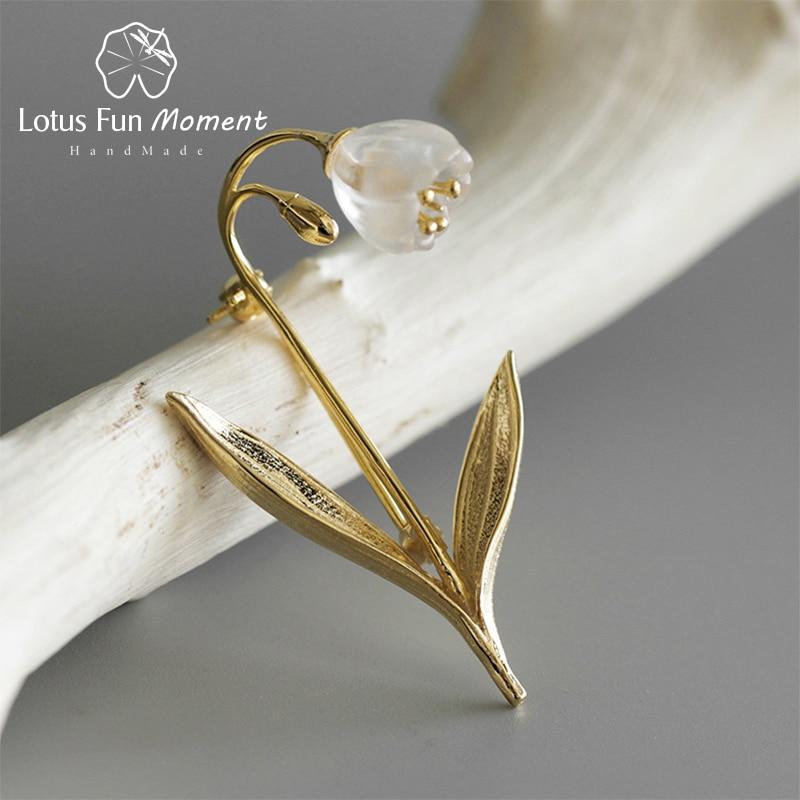 Lotus divertimento momento real 925 prata esterlina artesanal moda jóias natural cristal lírio do vale flor broches para mulher