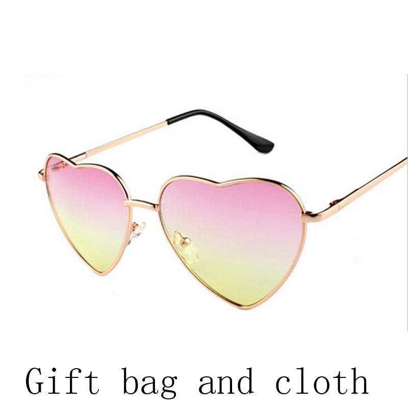 Heart shaped Sunglasses WOMEN red ladies metal Reflective LENES sun GLASSES MEN Mirror retro de sol NEW sun GLASSES for women