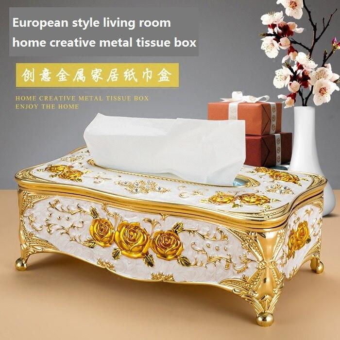 European Style Living Room Home Creative Tissue Box High-grade Metal Wedding Restaurant Paper Box KTV Decoration